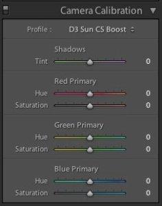 Adobe RAW Camera Calibration Tab