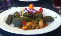 Vegan Dolmades (stuffed vine leaves) in Rhodes, Greece