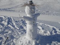 Vegan snowman in the Swiss mountains of Evolene