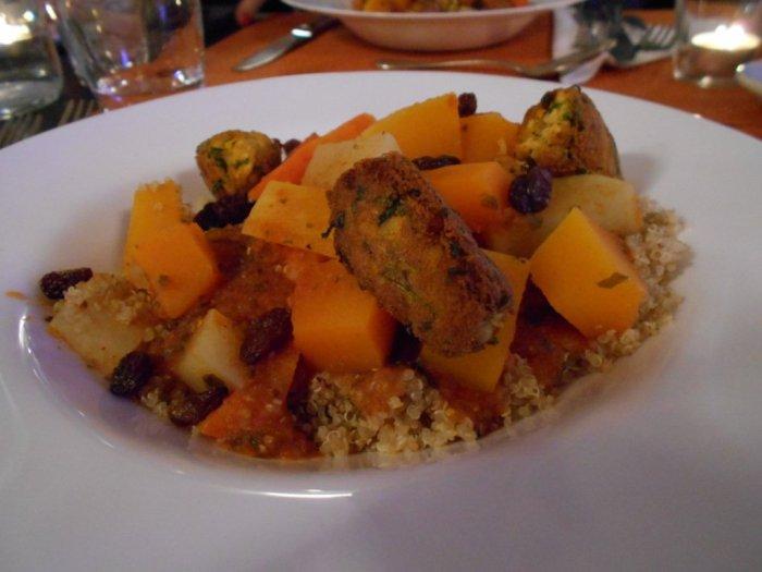 """Quinoa """"couscous"""" with tofu kefta at HelVeg Café in Geneva, Switzerland"""