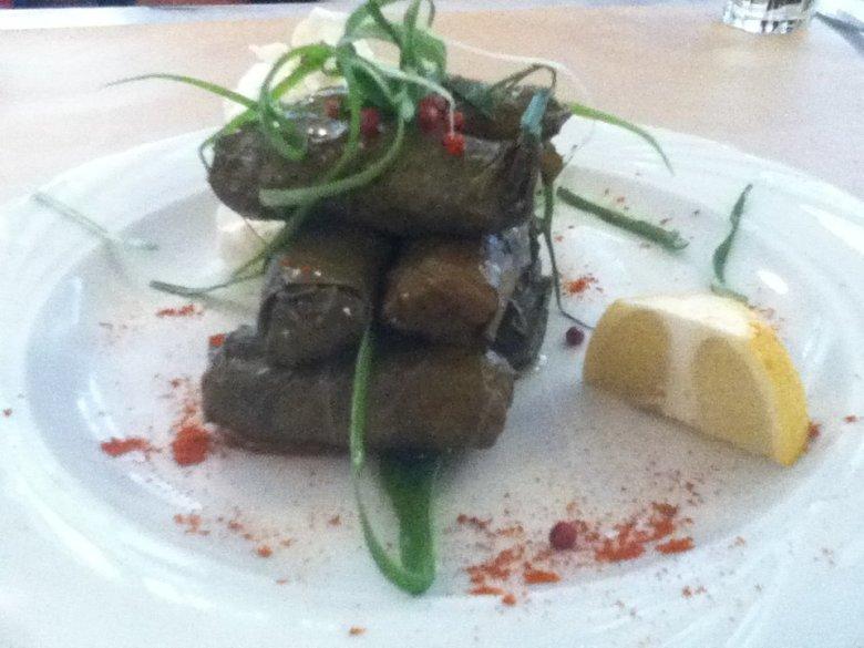 Dolmades at vegan-friendly Nea Folia restaurant in Thessaloniki, Greece