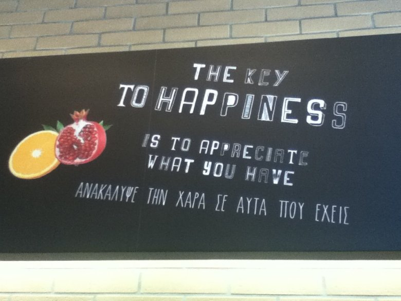 Key to Happiness sign at Today's delicious stores, Thessaloniki, Greece