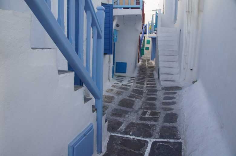 White-washed alleys in Mykonos, Greece