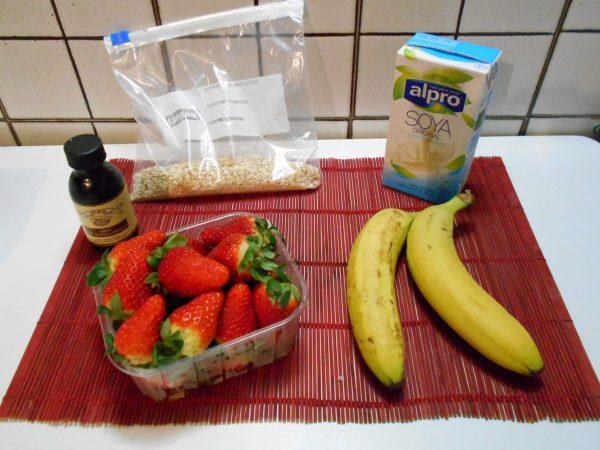 Ingredients to make vegan oatmeal while travelling
