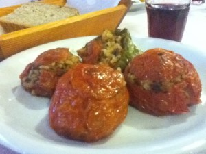 Vegan gemista (stuffed tomatoes) at Neo Omalos hotel in Omalos, Crete