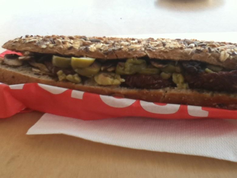 Vegan sandwich from Everest in Mykonos, Greece