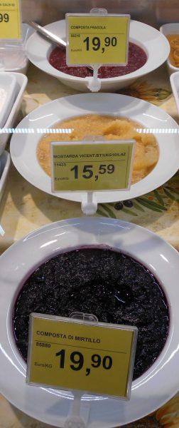 Vegan fruit preserves in Italian supermarket