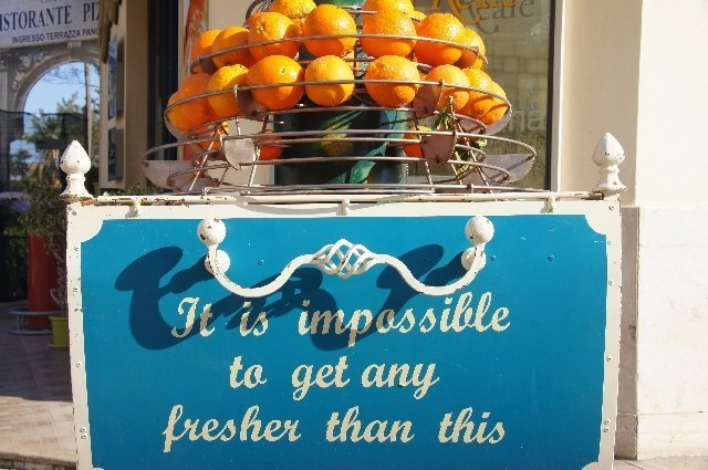 Fresh squeezed juice in Sicily