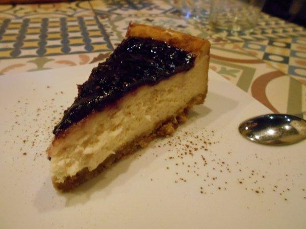 Vegan blueberry cheesecake at Vega in Madrid