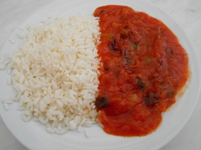 Pisto with rice - vegan dish in Cáceres, Spain