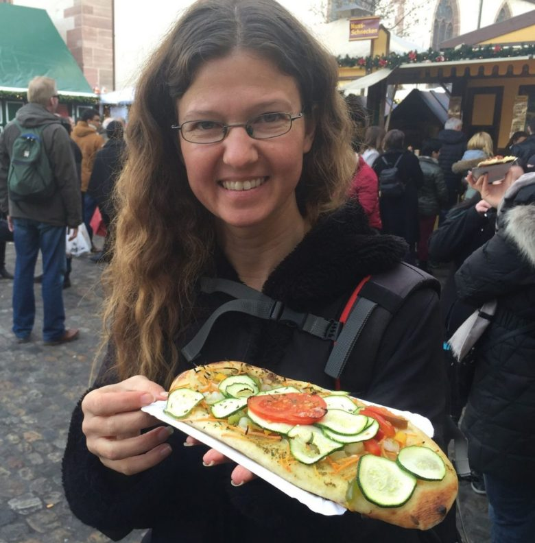 Dinnete at Basel Christmas market - vegan in Switzerland