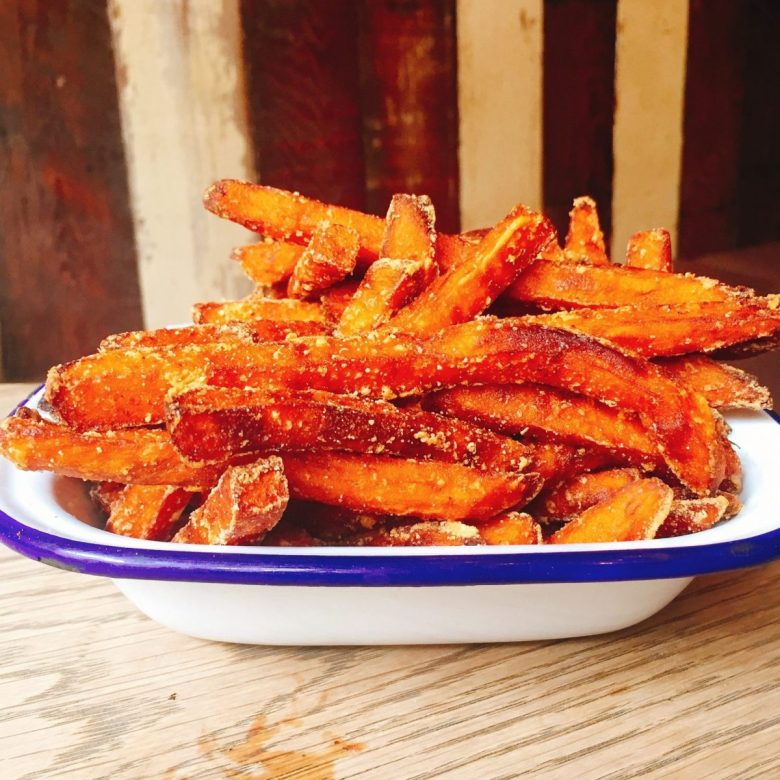 Sweet potato fries at Beerd, Oxford UK - vegan May Morning