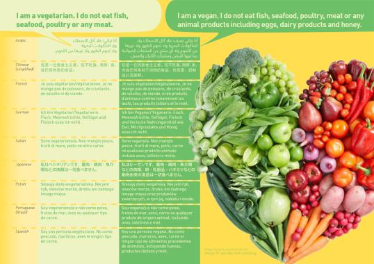 making sense - order vegan food with this translation card