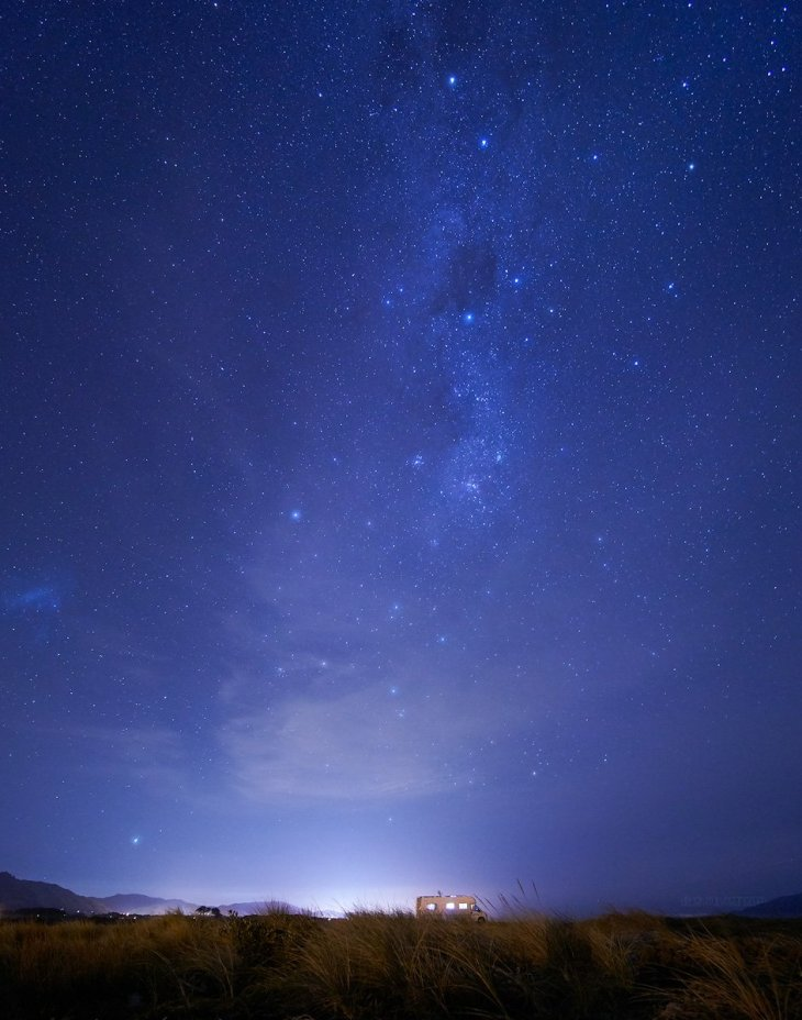 Stars over Otaki, New Zealand - vegan campervan holiday