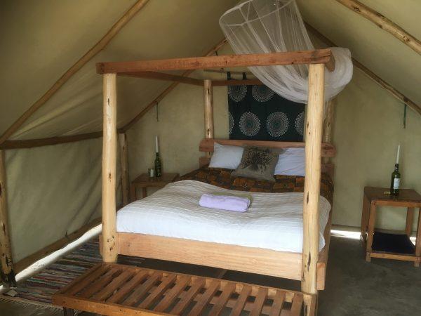 A roomy safari tent at the Mushroom Farm - Malawi food