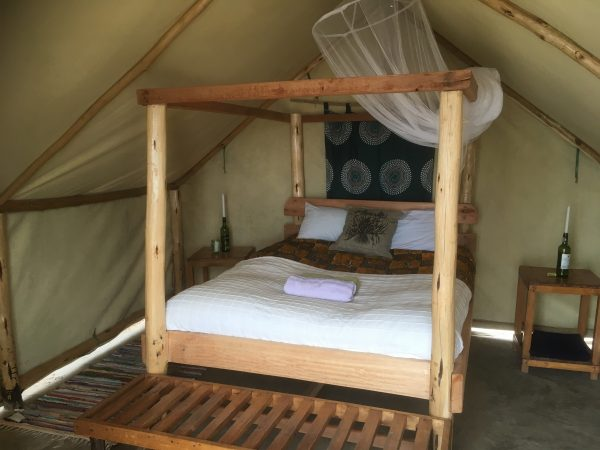 A roomy safari tent at the Mushroom Farm - Malawi food