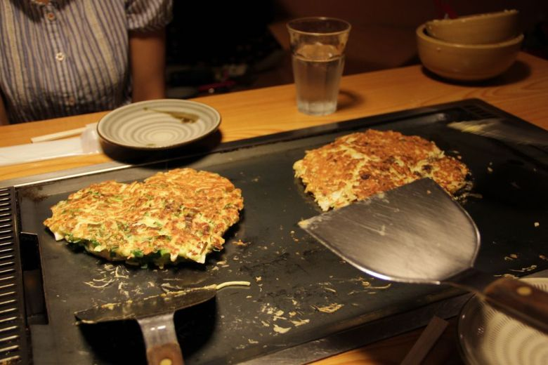 Okonomiyaki - this Japanese omelet is vegetarian but not vegan