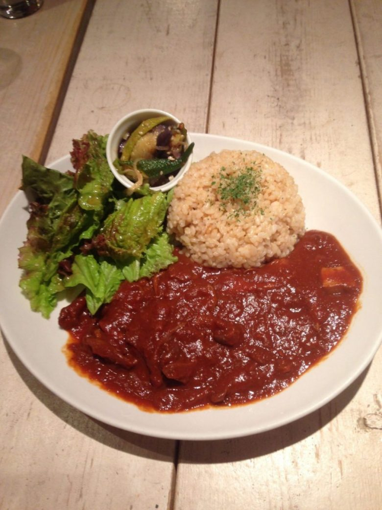 Rice with tempeh at Ain Soph Journey - vegan in Japan