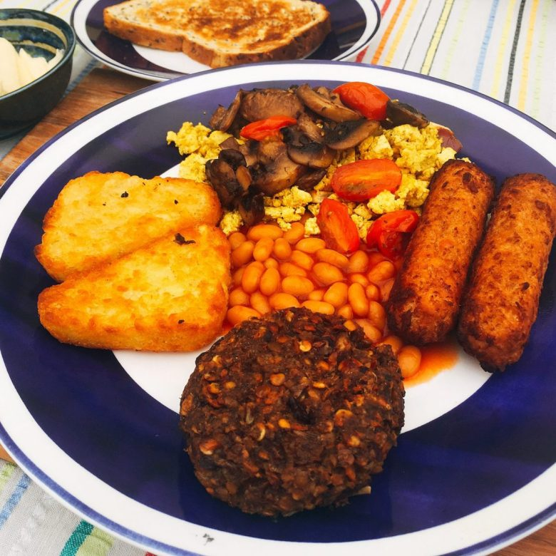 A full Scottish breakfast, veganized, at The Cosy Vegan B&B