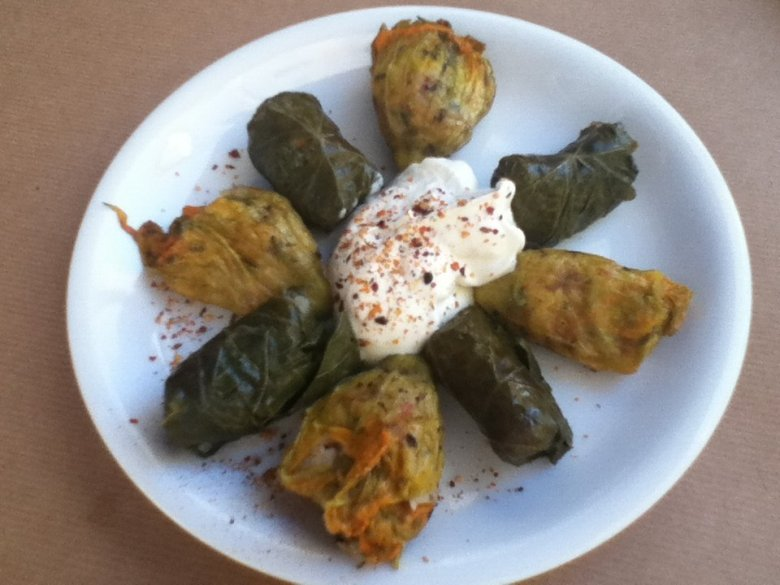 Zucchini flowers and dolmades
