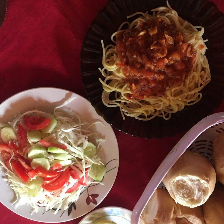 Spaghetti - vegan food in Trinidad, Paraguay
