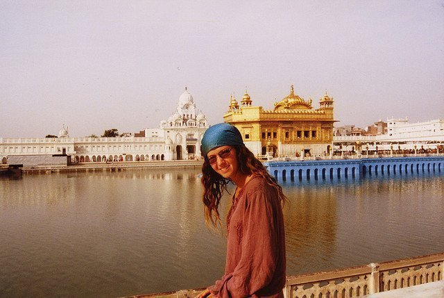the Nomadic Vegan at the Golden Temple in the Punjab