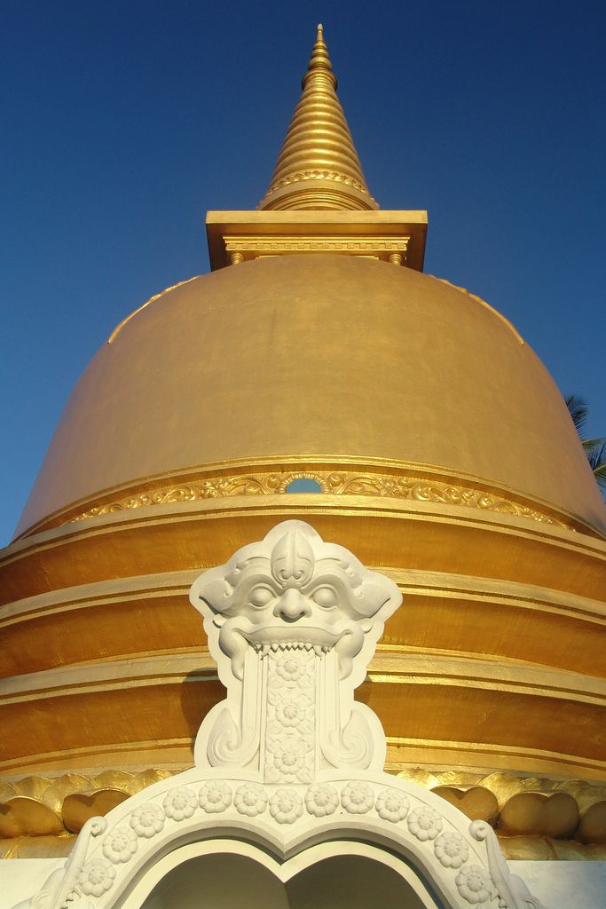 An early morning shot of a golden stupa at Dambulla, Sri Lanka.