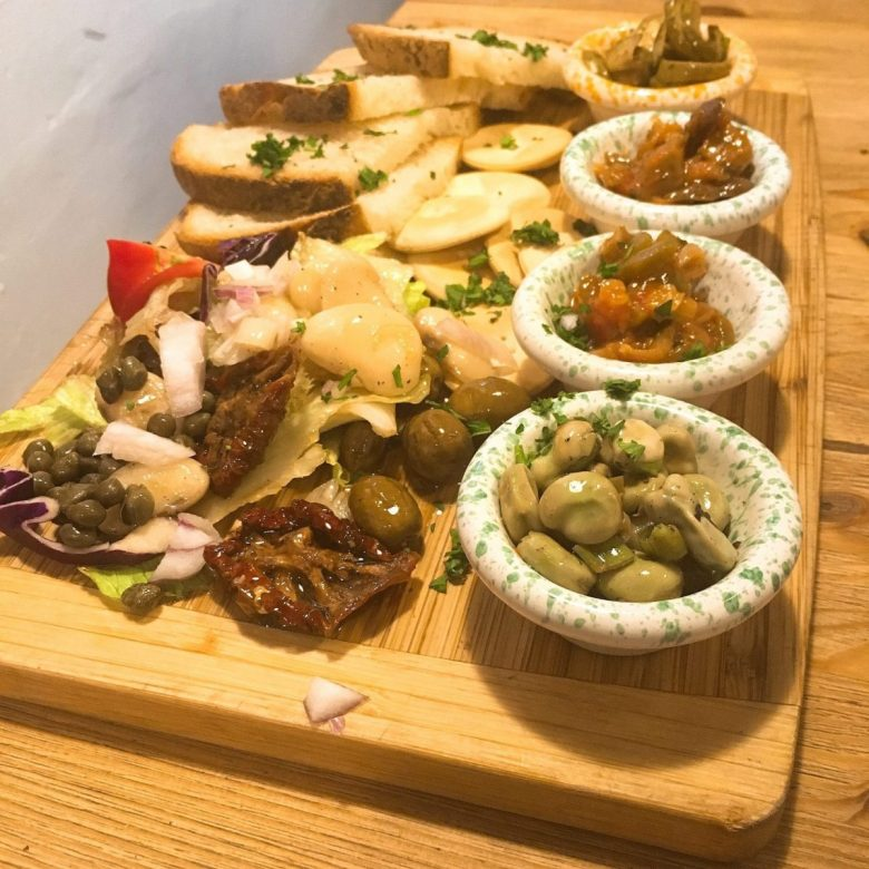 Ful bit-Tewm is in the bottom right corner of this mezze platter