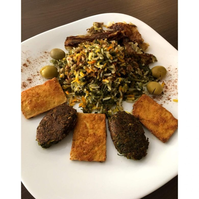 sabzi polo with kuku - vegan Persian food