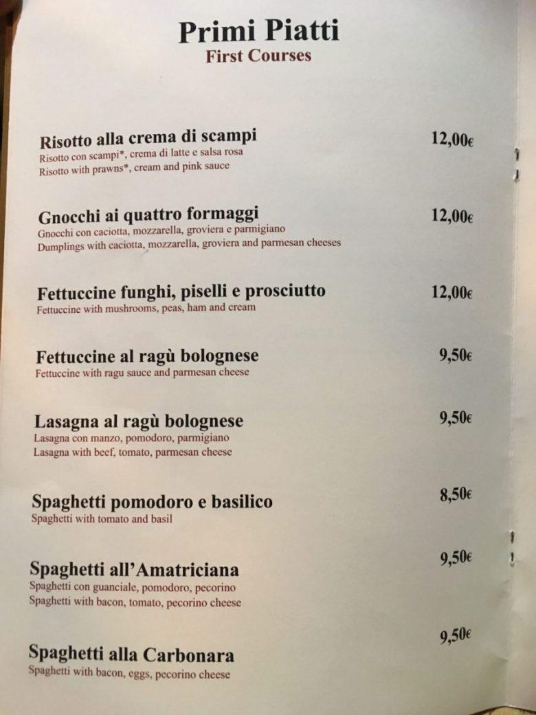Primi piatti page of an Italian menu