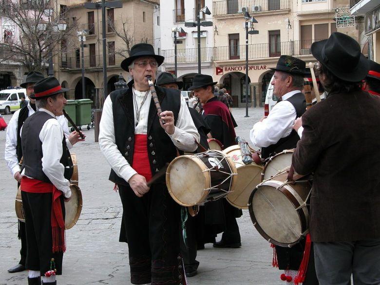 Tamorileros in Plaza Mayor of Plasencia Spain