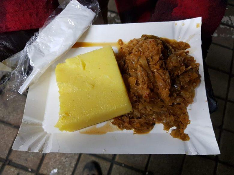 Varza calita with mamaliga - vegan Romania street food