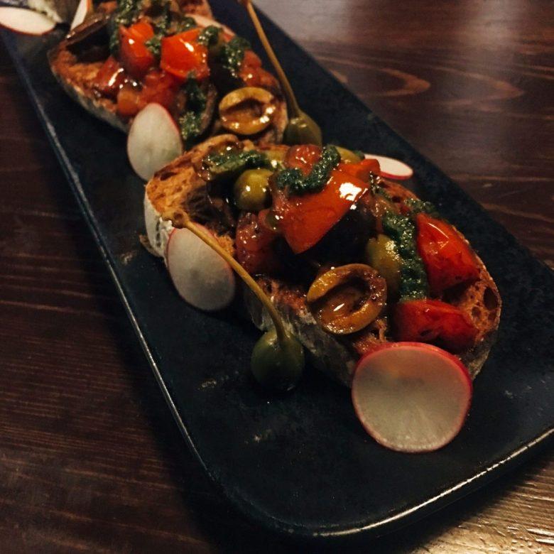 tomato, olive and caper bruschetta