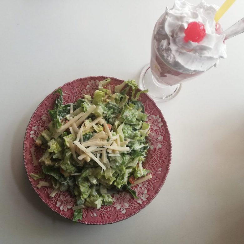 Vegan salad and milkshake at Mamalicious