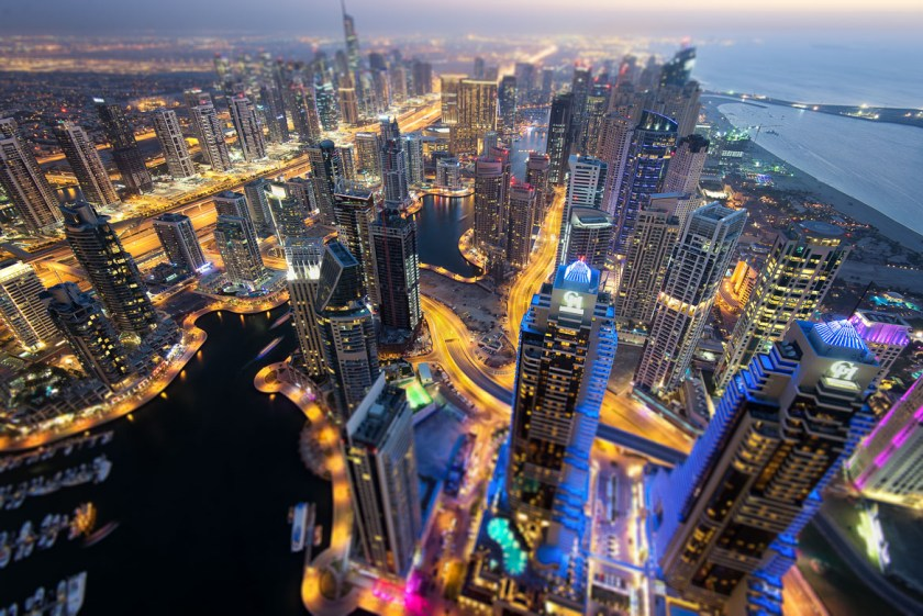 Dubai, UAE, Marina, cityscape, night