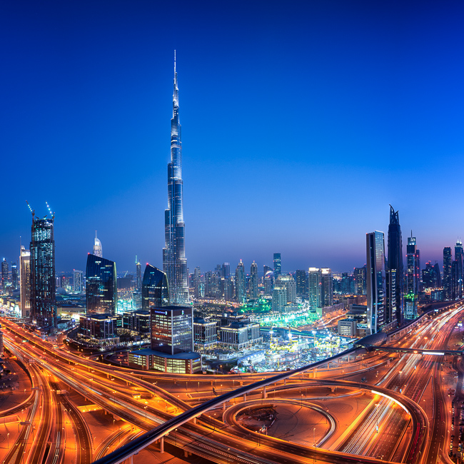 Adventure, Burj Kalifa, Dubai, King Zayed Road, Middle East, Nomad Within, Peter DeMarco, UAE, United Arab Emirates, cityscape, highway, light trails, night, photography, sunset, travel