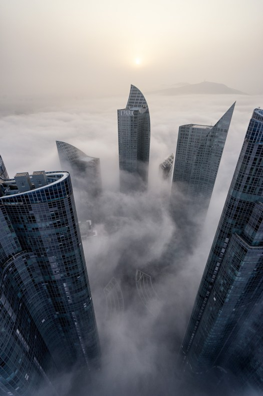 Busan, IPark, Korea, Peter DeMarco, architecture, asia, cloud inversion, clouds, fog, marine city, mist, photography, portrait, rooftopping, skyscraper, sun, sunset, the nomad within, travel, zenith