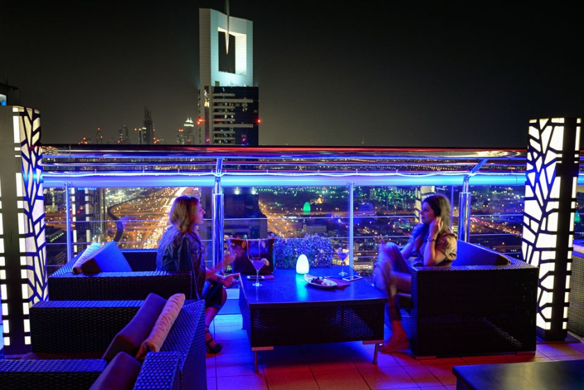 Adventure, Dubai, King Zayed Road, Level 43 Rooftop Bar Lounge, Middle East, Nomad Within, Peter DeMarco, Sheraton 4 Points, UAE, United Arab Emirates, cityscape, light trails, night, photography, travel
