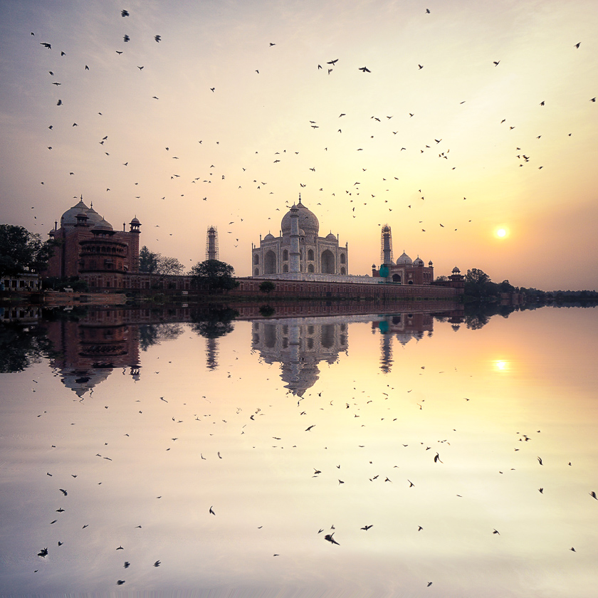 Taj Majal Sunset River Reflection