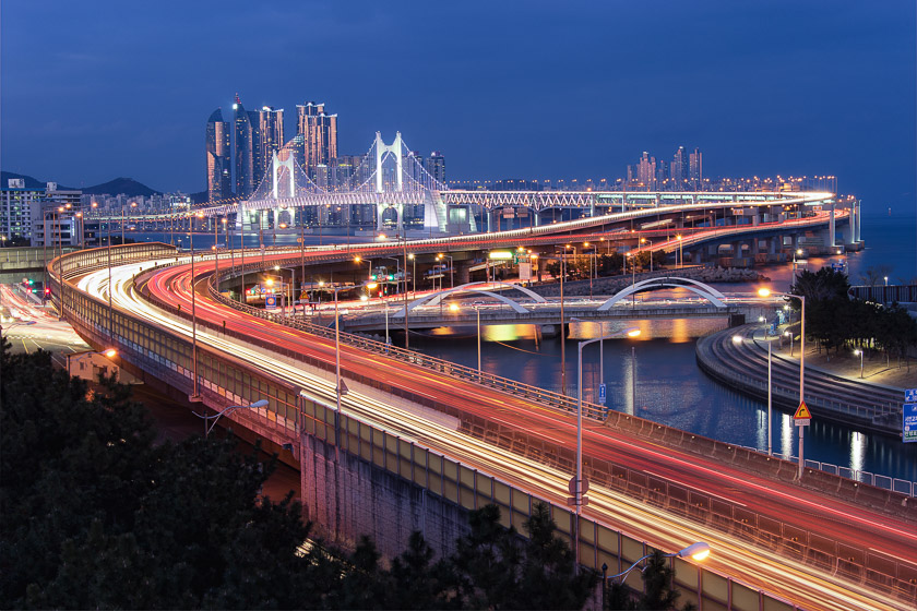 Bridge, Busan, Gwangan, Korea, asia, blue hour, light, photography, tips, trail