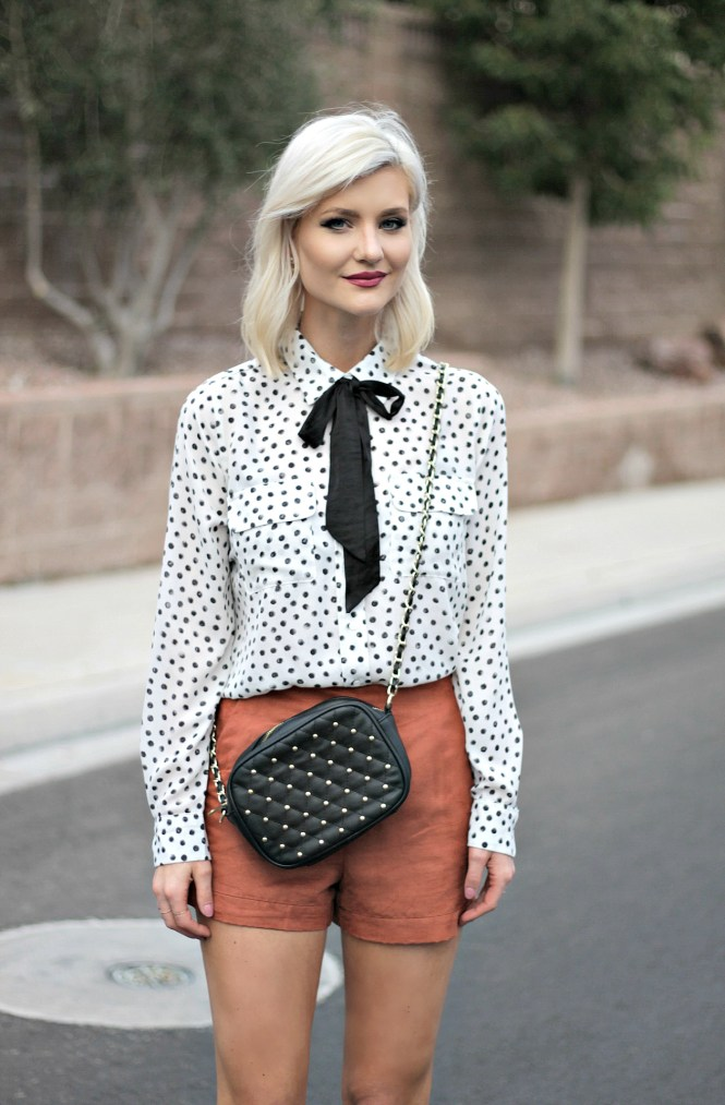 suede-shorts-polka-dot-shirt-bow-blouse-studded-purse-lindsey-simon-the-nomis-niche-las-vegas-fashion-blogger-beauty-blogger-4