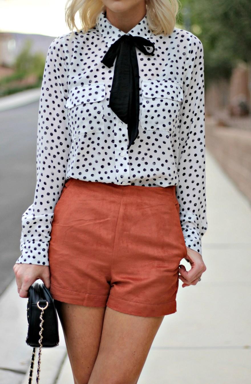 suede-shorts-polka-dot-shirt-bow-blouse-studded-purse-lindsey-simon-the-nomis-niche-las-vegas-fashion-blogger-beauty-blogger-5