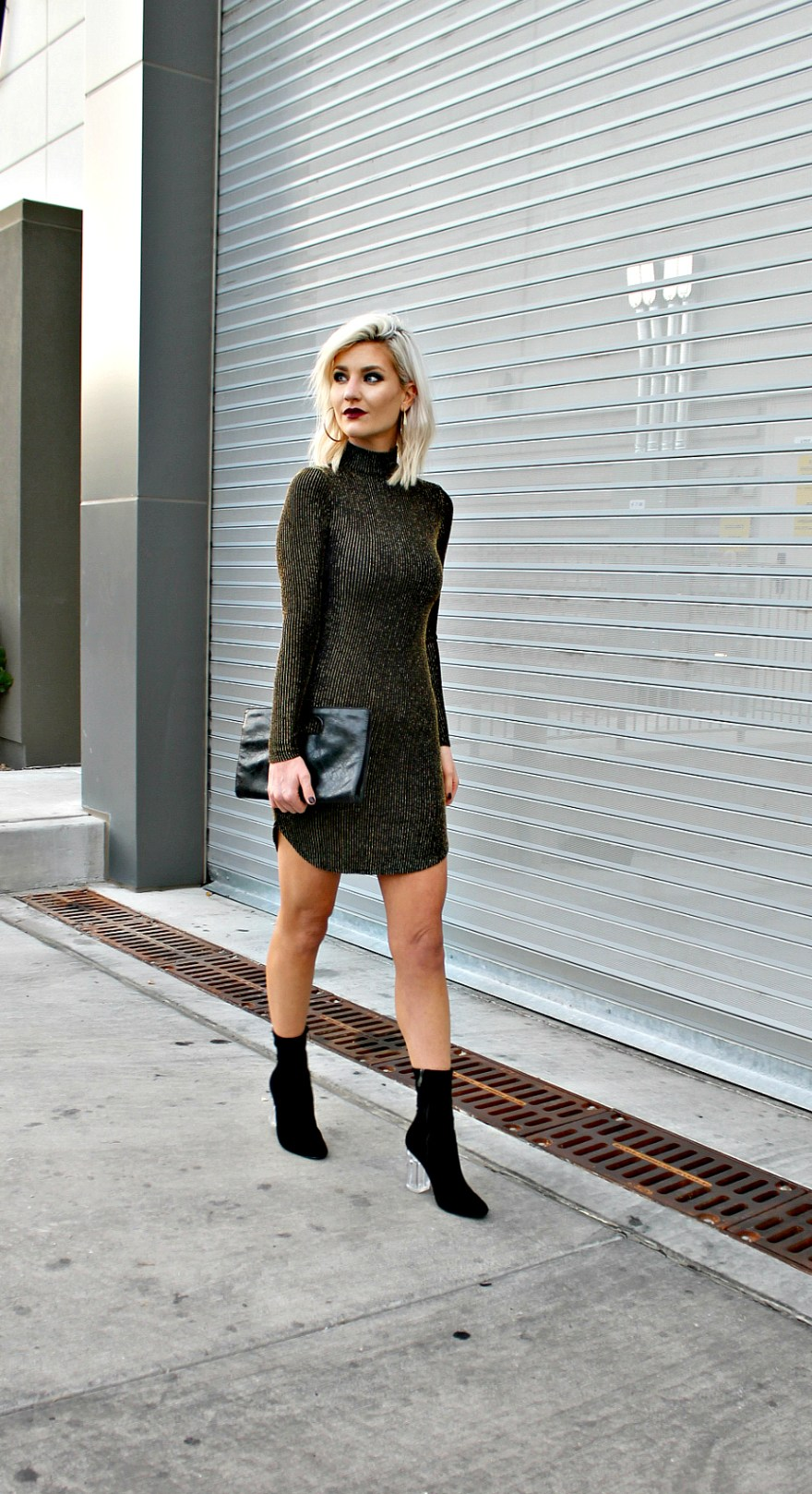 holiday outfit, holiday style, holiday party look, holiday look, glitter dress, mock neck, party dress, holiday dress, new year's eve, Christmas, sock bootie, holiday party outfit, how to wear, platinum blond, fashion blogger, Las Vegas fashion blogger, Lindsey Simon, The Noms Niche