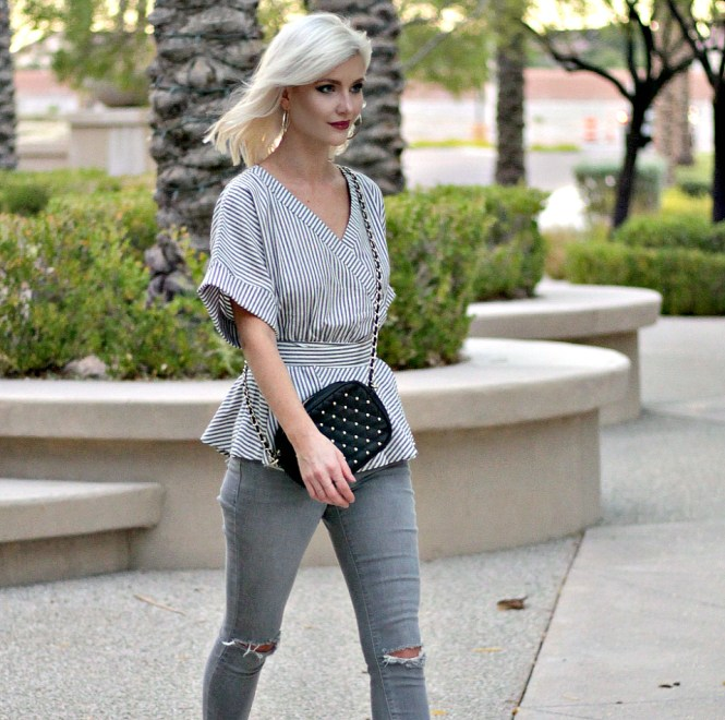 distressed-denim-gray-jeans-studded-purse-striped-top-romwe-peplum-top-ankle-strap-sandals-las-vegas-fashoin-blogger-las-vegas-beauty-blogger-4