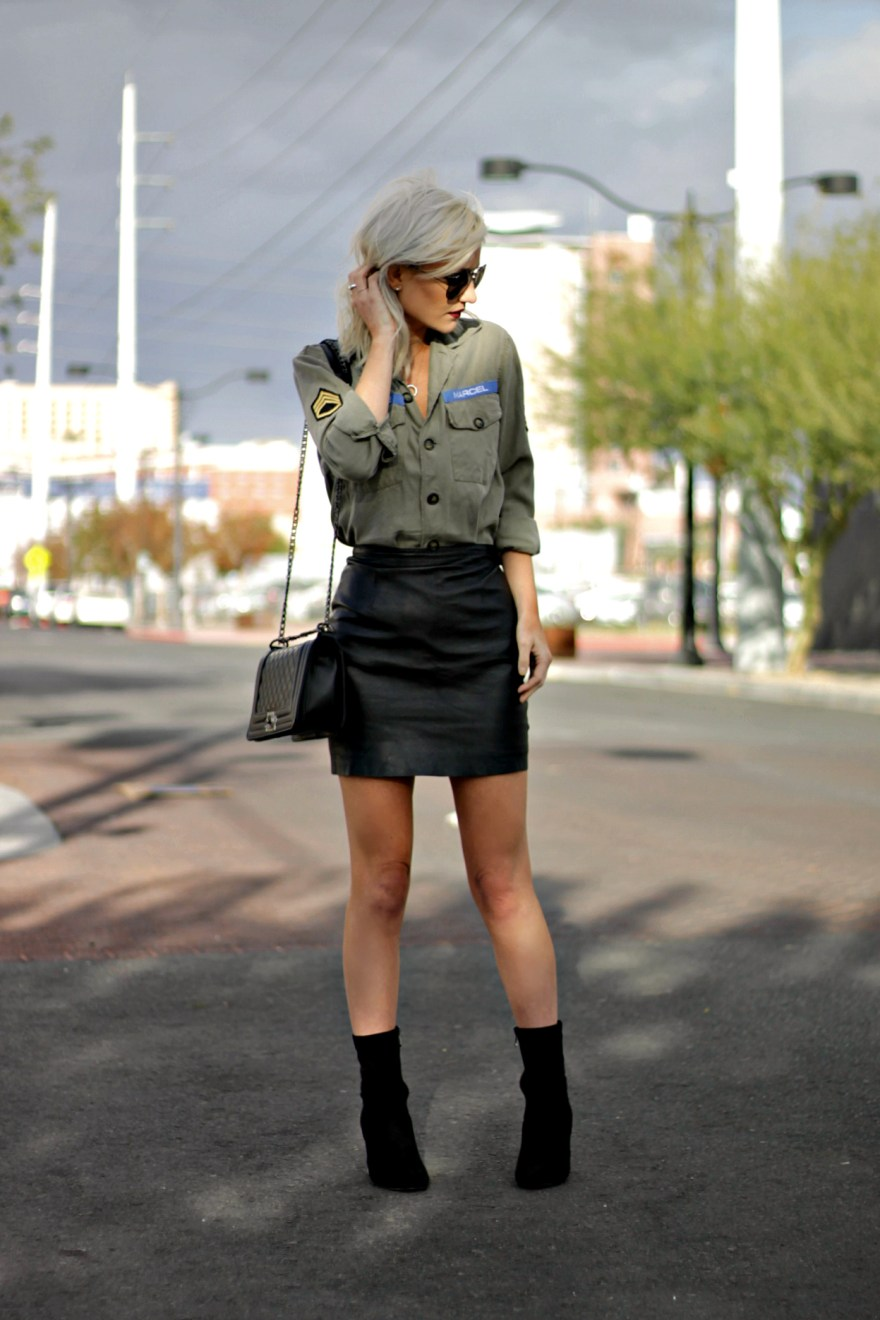 stella-and-dot-military-shirt-leather-skirt-sock-booties-1
