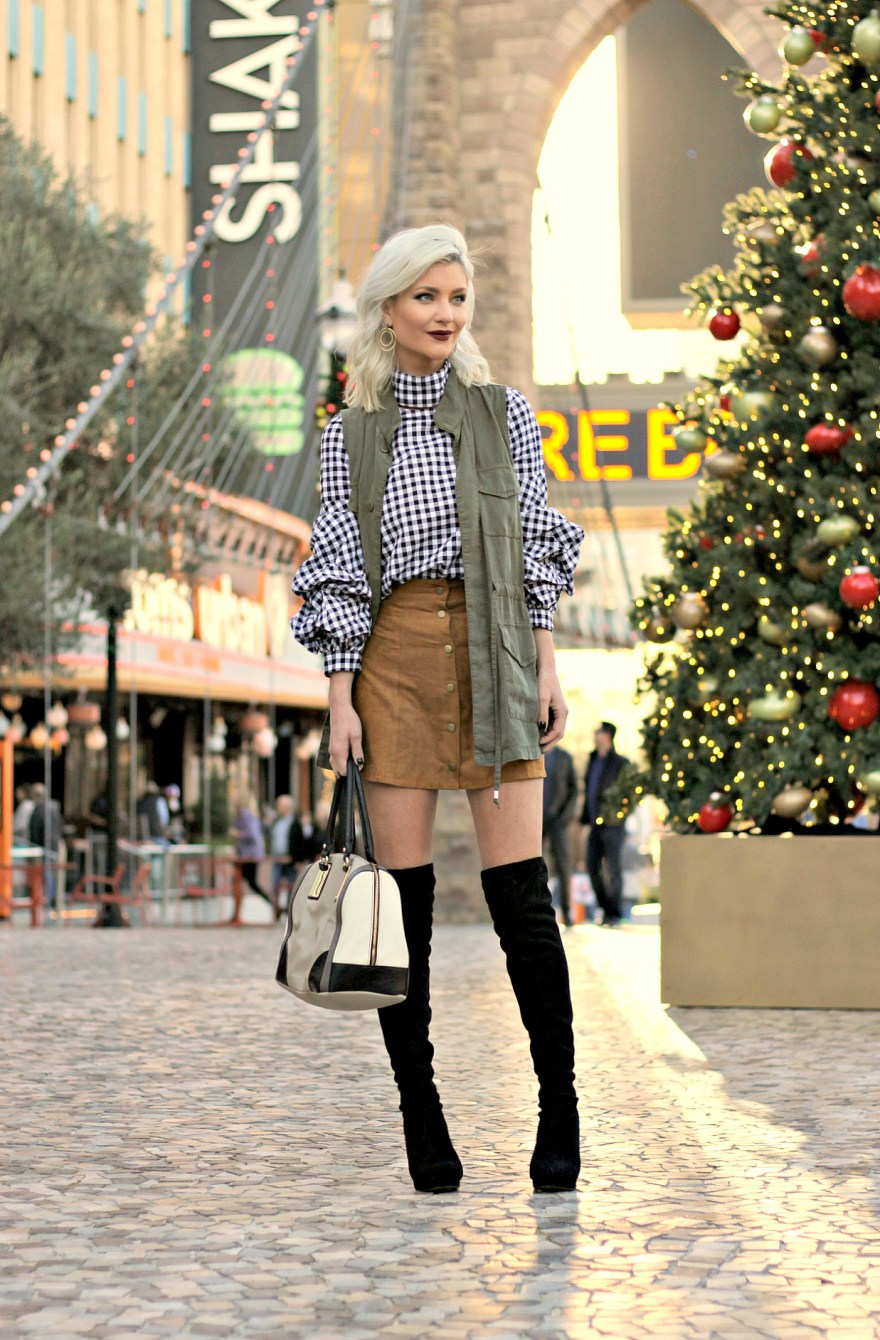 Fall Outfit - Ruffle Sleeves, Over The Knee Boots and Suede Skirt