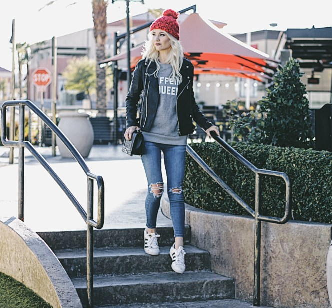 caffeine queen, shein sweatshirt, red beanie, leather jacket, chanel purse, street style, winter style, winter outfit