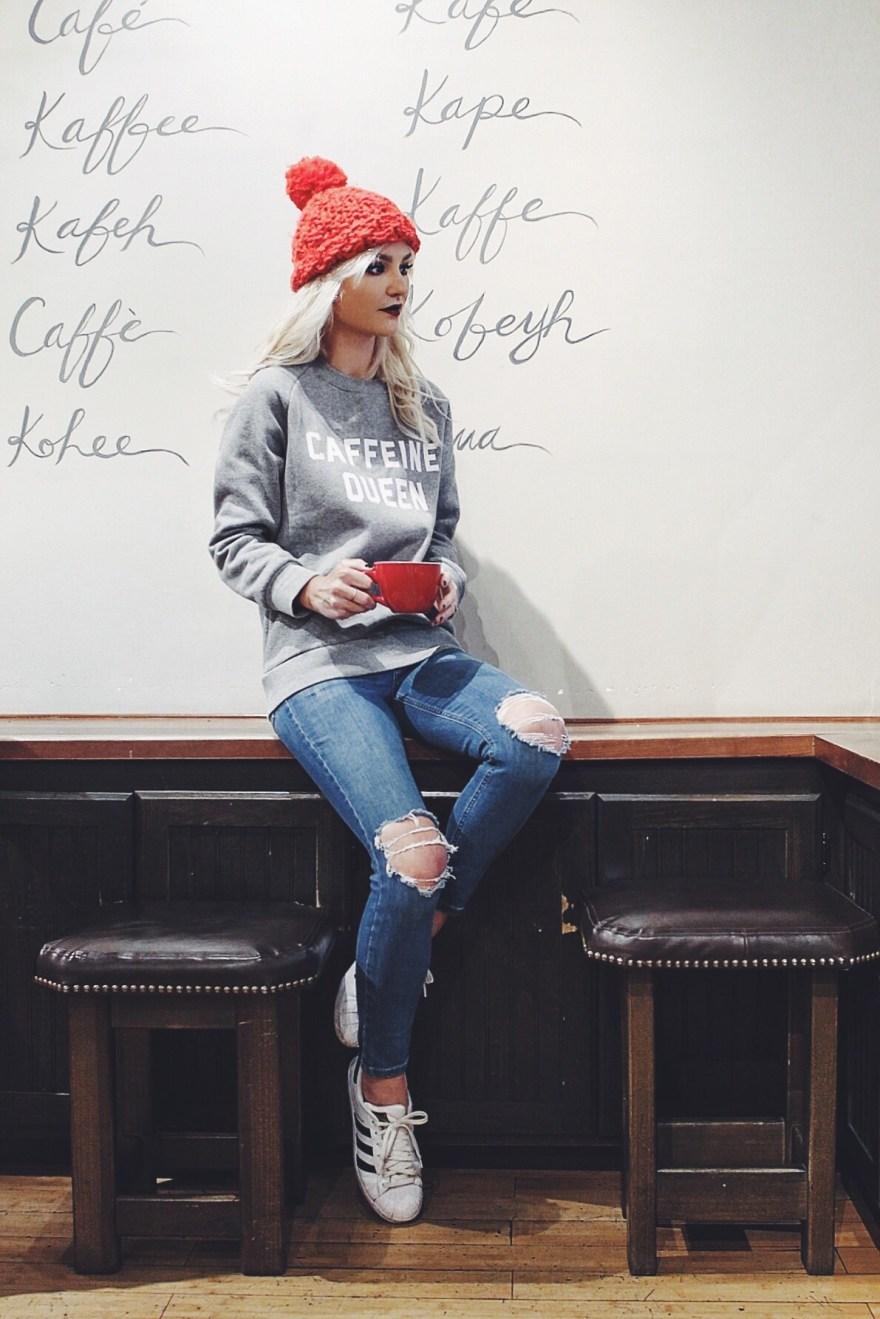 caffeine queen, shein sweatshirt, red beanie, leather jacket, chanel purse, street style, winter style, winter outfit