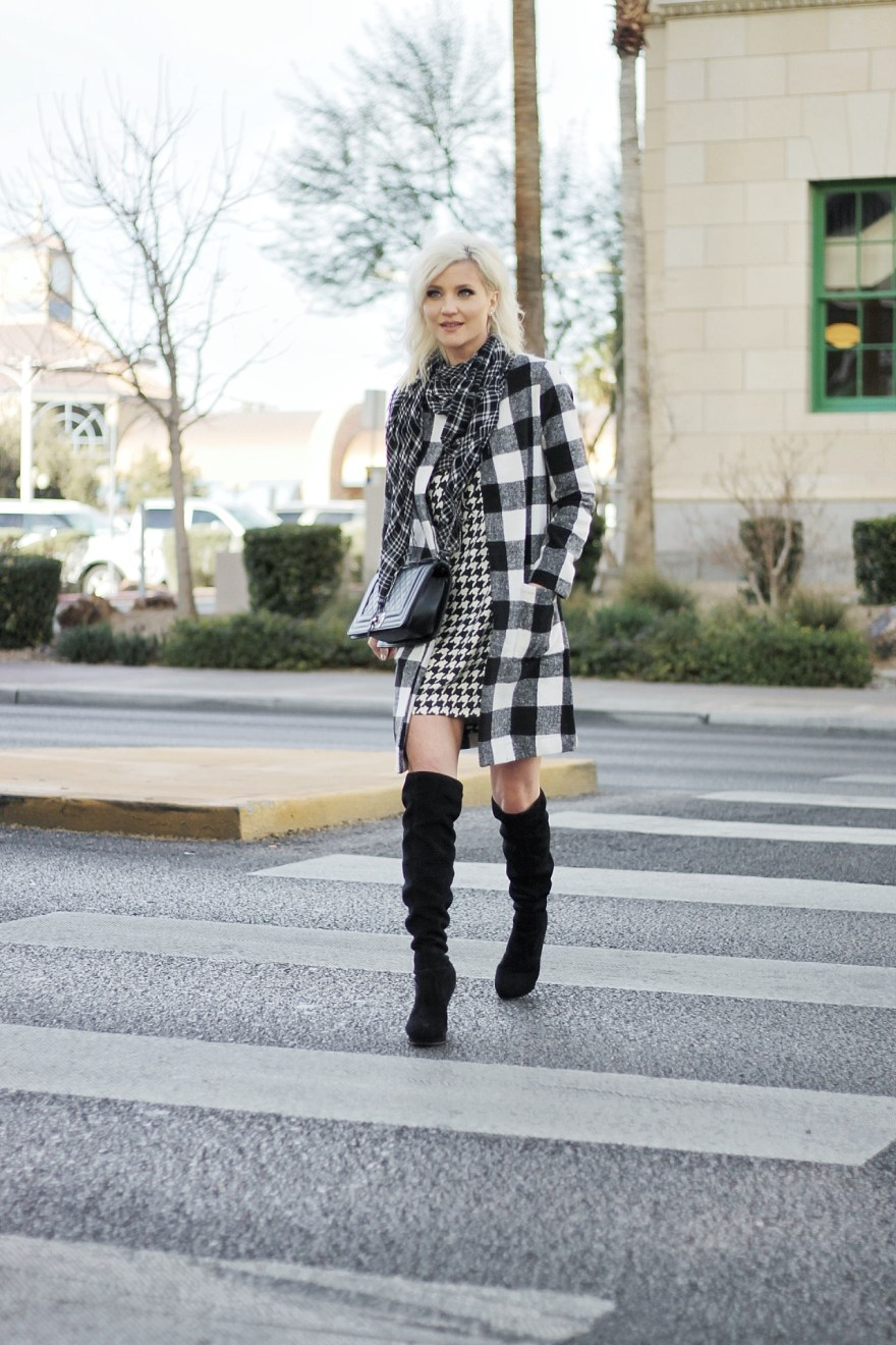 mixing prints, over the knee boots, how to wear, checkered coat, houndstooth, black and white outfit, winter style, winter fashion, fashion blogger, las vegas