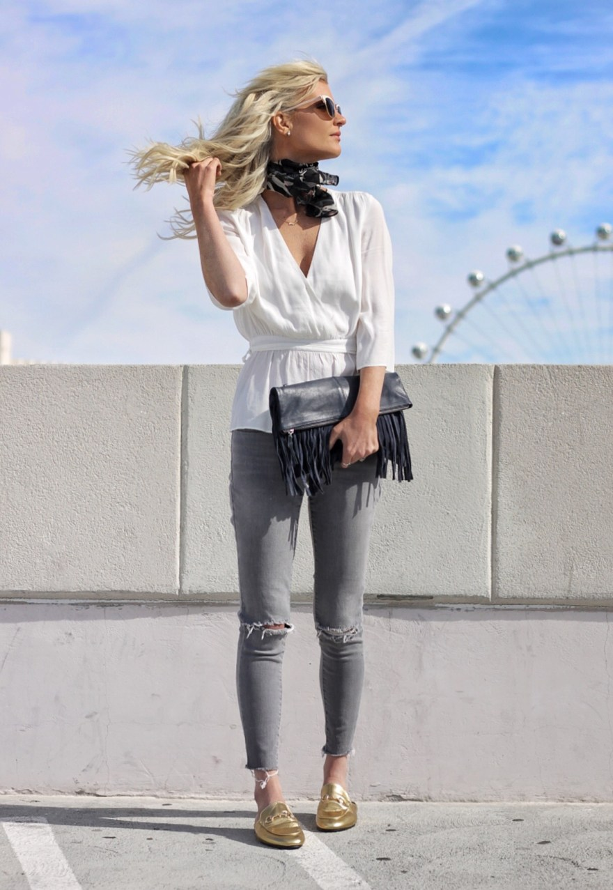 gold mules, topshop, white blouse, ripped jeans, spring outfit, neck scarf, how to wear, casual outfit, fringe, bag
